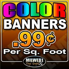 "4'x 8' 13oz Custom Color Vinyl Banner (48""x96"") Edging and Grommets"
