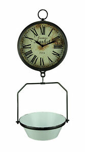 Vintage Look Hanging Scale Clock With White Enamelware Tray