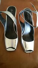 Ladies block heels silver with crossover ankle strap Evie UK size 7