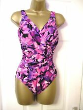 14 MIRACLESUIT SWIMSUIT RUCHED SIDE POWER MESH BUST + TUMMY CONTROL WRAP LOOK
