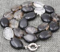 "13x18mm natural Black tourmaline Flat Oval Gemstone Beads Necklace 18 """
