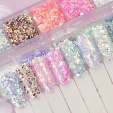 12 Colors Nail Art Glitter Sequins Holographic Mermaid 3D DIY Tip Decoration CN