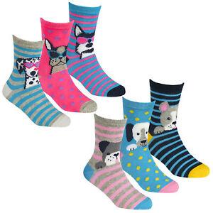 Girls 6 Pairs Dog Design Cotton Rich Socks