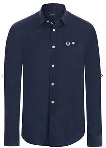 Camicia Fred Perry Blu 100% Originale