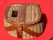 Vintage Large Sized Leather + Wicker Trout Fishing Creel Very Nice Patina + Vgc