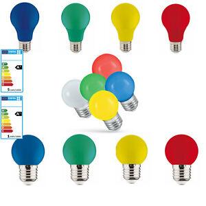 LED E27 Farbig Bunt 1 W 5 W Lampe Birne Gelb Rot Grün Blau Lichterkette Girlande