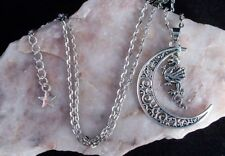 Tibetan Silver Filigree Crescent Moon With Dragon Pendant Necklace.Handmade.