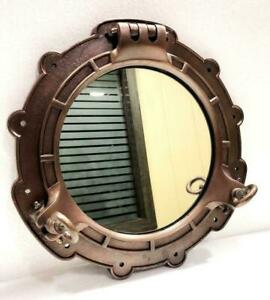 """Antique Brown Finish Canal Boat Porthole-Ship Window Round Mirror Wall Décor 15"""""""