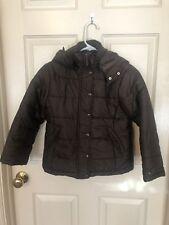 Tommy Hilfiger Brown Kids Winter Coat w/ Hood Boys Girls S 5-7, Euc