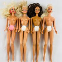 Barbie Doll Lot of 4 Nude Dolls 1990s Mattel Blonde Brunette Painted Panties