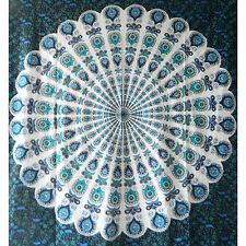 Colcha pavo real mandala negro 230x200cm India manta algodón decoración