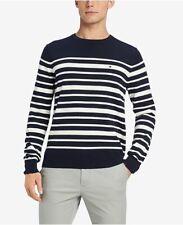 Tommy Hilfiger Premium Signature Eastport Striped Sweater Navy Mens Medium New