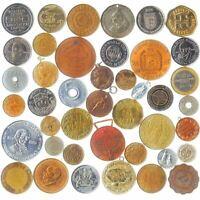 100 PCS MIX OF EXONUMIA: TOKENS, MEDALS, SOUVENIR MEDALLIONS, ELONGATED COINS...