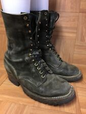 VTG🔥 WESCO Black Aged Leather Motorcycle Lineman Firefighter Boots Sz 10 EE LE