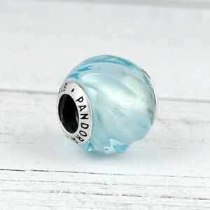 Pandora Murano Glas Charm Bead 797098NAB Blue Ripples Aqua Blue Crystal