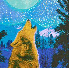 """Handmade Cotton 3D Wolf Glow in the Dark Tapestry Tablecloth Spread 60"""" x 90"""""""