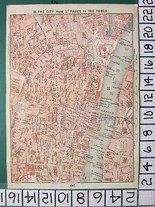 1908 LONDON ENVIRONS TRAVELLER MAP ~ CITY PLAN HOLBORN FLEET STREET STRAND