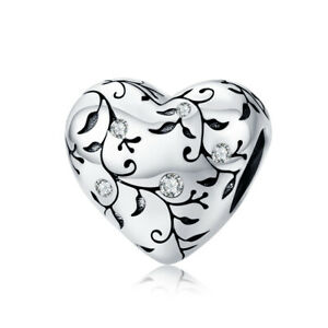 Pandora's Myth Sterling Silver Evergreen Heart Clear CZ Charm Pendant
