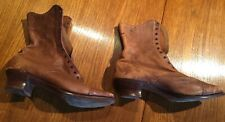 ANTIQUE VICTORIAN LEATHER LACE UP TAN BROGUE BOOTS - SM SIZE