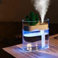 Humidificateur D'air À Ultrasons Clair Cactus Lumière Usb Huile Essentielle Diff