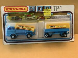"""Matchbox Two Pack  TP-1 Mercedes Truck and Trailer """"IMS"""" Labels Blue Bodies"""