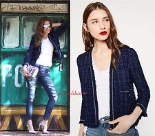 ZARA Woman Blau Tweed Bouclé Blazer XS Neu! AUSVERKAUFT! RAR! Trend