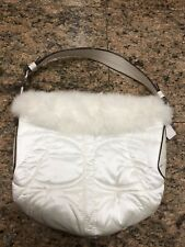 Coach White Satin Rabbit Fur Bag