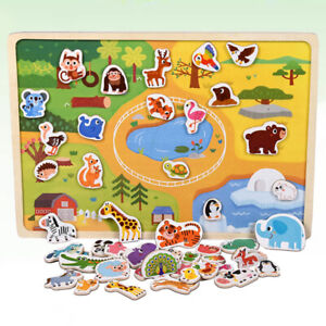 Educational Wooden Magnetic Puzzle Toys Drawing Boards Box Learning Activity