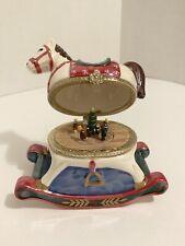 MR. CHRISTMAS ANIMATED ORNAMENT ROCKING HORSE MUSIC BOX W/ ROTATING SCENE INSIDE