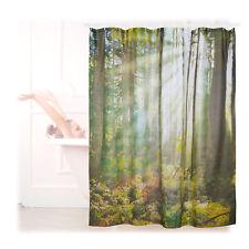 Duschvorhang Wald 180x180 Badewannenvorhang Motiv Anti-Schimmel Wannenvorhang