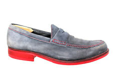 Donald J Pliner Yuma Moc Toe Slip On Penny Loafer Gray Suede Red Sole Mens 13M