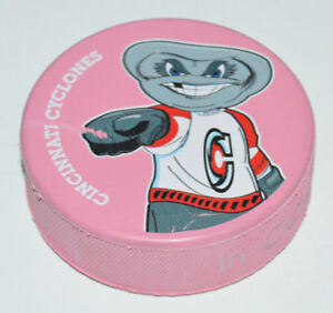 CINCINNATI CYCLONES Mascot Twister Pointing Logo ECHL SOUVENIR PINK COLORED PUCK