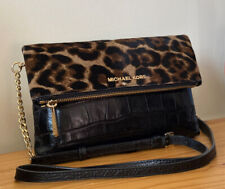 Michael Kors Black Croc Embossed Leather With Haircalf Flap Clutch Crossbody Bag