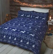 NORDIQUE RENNES de Noël bleu 100% brossé Taille SUPER KING 4 pièces beddingset