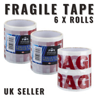 6 X ROLLS FRAGILE TAPE STRONG PARCEL PACKING BOX SEALING MOVING POST 48MM X 25M