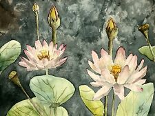 lotus still life botanical flower flowers watercolor painting art print