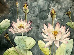 lotus still life botanical flower flowers watercolor painting art print pink oil