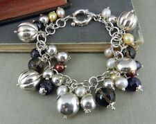 Signed CA Italy Sterling Silver, Pearl & Beaded Charm Bracelet