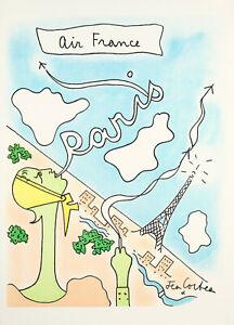 Affiche Originale - Jean Cocteau - Air France - Paris - Tour Eiffel -Vers 1963