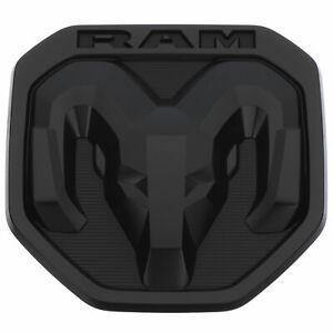 NEW TAILGATE DODGE RAMS HEAD EMBLEM BADGE MATTE BLACK 2019 RAM 1500  OEM