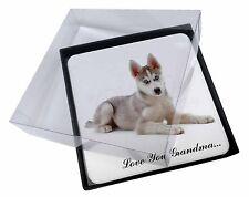4x Husky 'Love You Grandma' Picture Table Coasters Set in Gift Box, AD-H54lygC