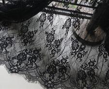 """Vestido de novia Negro Encaje de Chantilly nupcial Tela 59"""" para boda cubrían 1 metros"""
