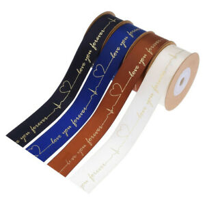 10Yards Satin Ribbon Love You Forever Trim Gift Wrapping Wedding Band Decor DIY