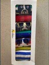 NEW Mini Boden Boy's 7 Pack Sock Box Dogs and Stripe Socks 10-13