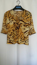 Womens Blouse Top Sz M 8 10 Tiger Print Ruffle Stretch Career Casual Korea F7