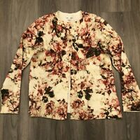 J Jill Womens Small 3 Button Ivory Floral Stretch Cardigan Sweater