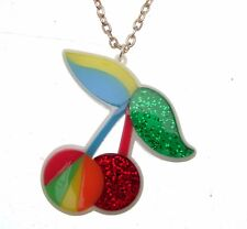 Cherry Plastic Fashion Necklace Multicoloured Design 113887