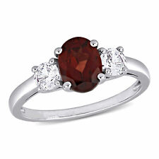 Amour Sterling Silver Oval-cut Garnet and Created White Sapphire 3-stone Ring