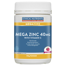 Ethical Nutrients Mega Zinc 40mg with Vitamin C 190g Powder - Raspberry MEGAZORB
