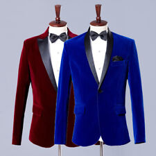 Mens Velvet Suit Jacket and Pants Set Groom Wedding Prom Party Dress Costume